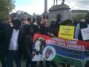 Protesters at Trafalgar Sq
