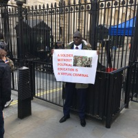Leading protester, Lawyer Lamin Darboe at Downing Street