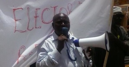 Solo Sandeng at Westfield protesting in Gambia