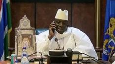 Dictator Yahya Jammeh on the phone congratulating Adama Barrow