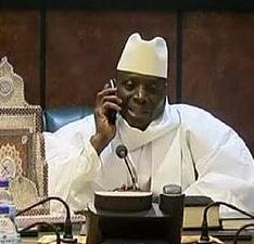 Dictator Yahya Jammeh on the phone congratulating Adama Barrow